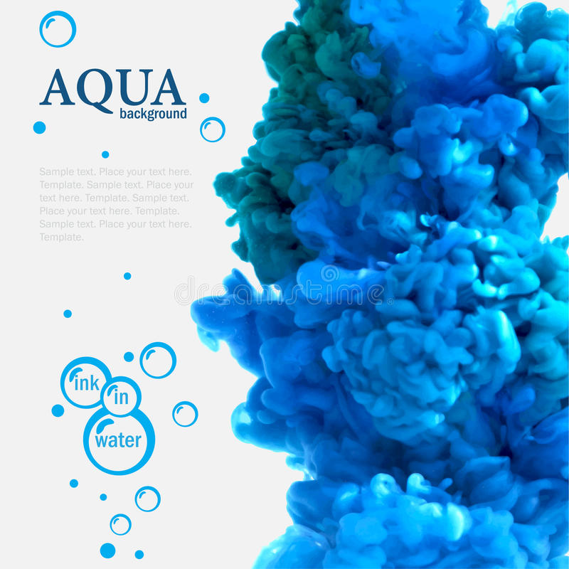 Aqua blue ink in water template with bubbles. Aqua blue swirling ink in water template with bubbles