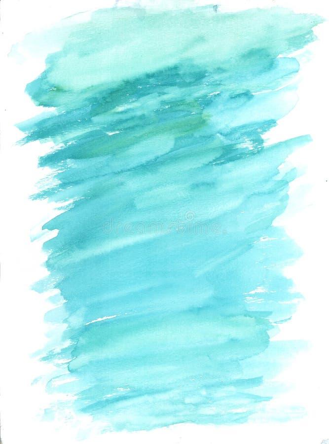 Aqua Blue Watercolor Wash Splash bakgrund royaltyfri foto