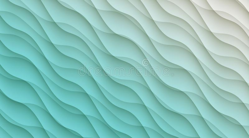 Aqua blue and white diagonal curves abstract wallpaper background illustration. stock illustration
