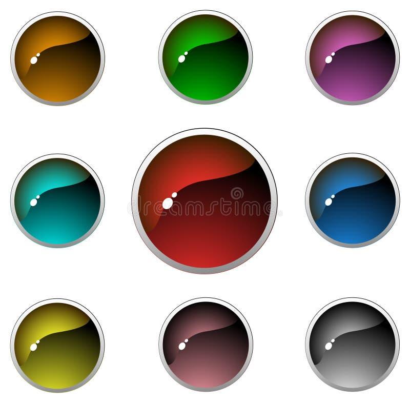 aqua buttons genomskinligt royaltyfri illustrationer