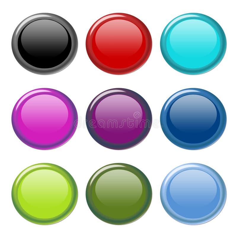 aqua buttons glansigt royaltyfri illustrationer