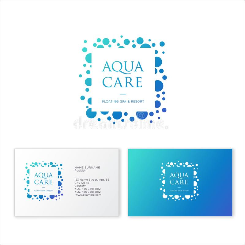 Aqua Care logo. Spa emblem. Mineral natural cosmetics logo. Identity, business card. Beautiful letters and water bubbles stock illustration