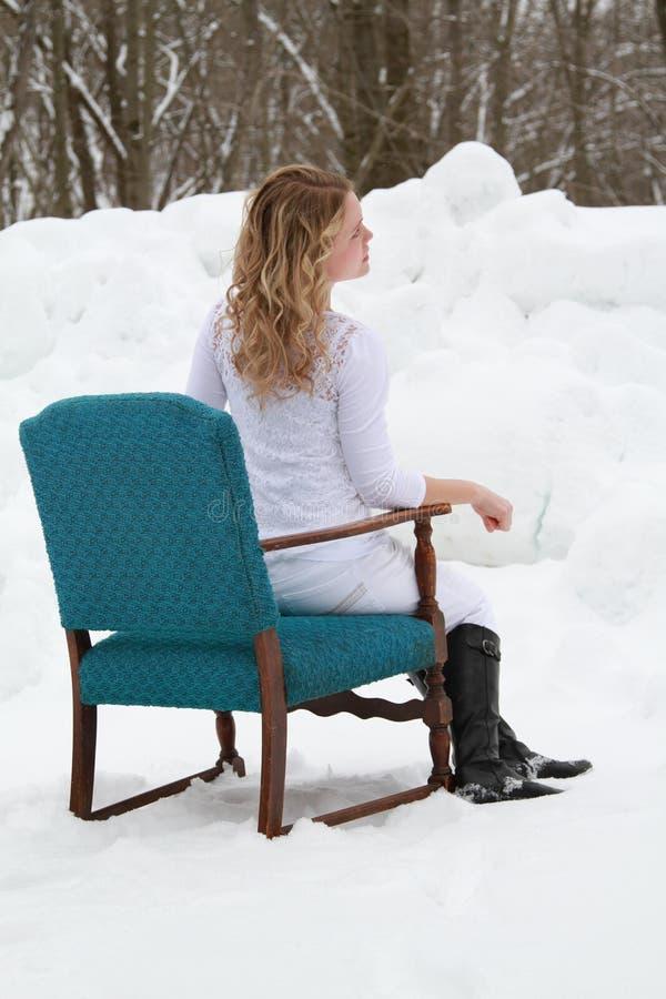 Aqua Chair Winter Woman Portrait arkivfoto