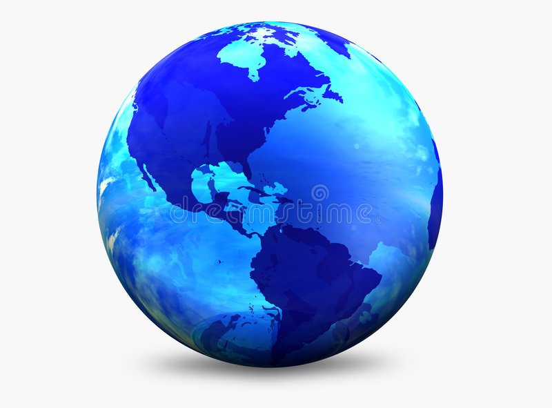 Aqua color world globe royalty free illustration