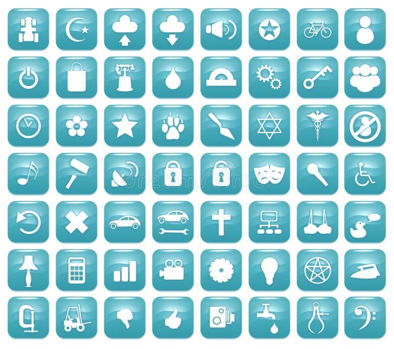 Aqua Downy Icon Set 2 lizenzfreie abbildung
