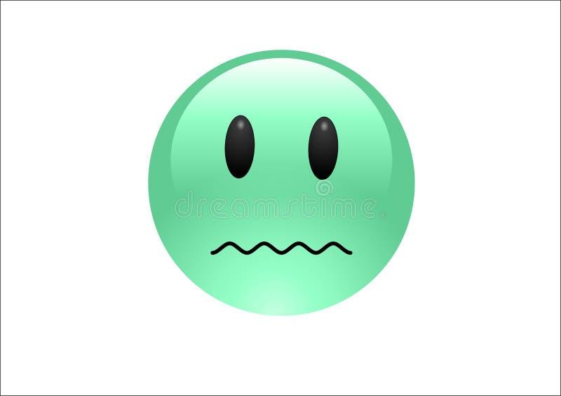 Aqua Emoticons - Ill. A shiny emoticon looking very ill vector illustration