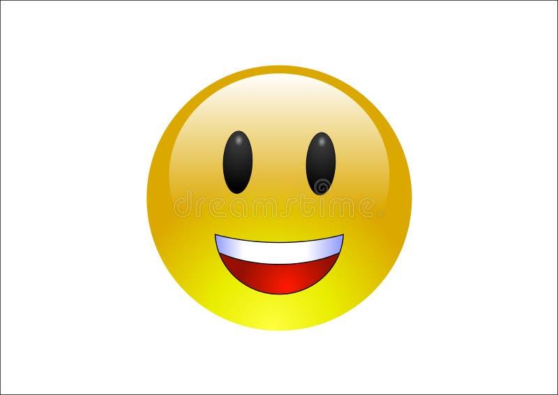 Aqua Emoticons - Laugh 2. A shiny, yellow, emoticon on white background laughing royalty free illustration