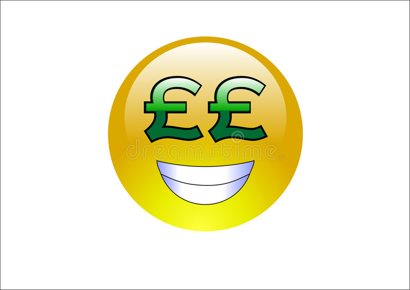 Aqua Emoticons Pound Signs Money Royalty Free Stock