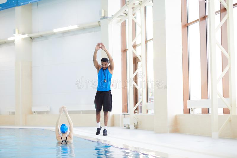 Aqua Fitness in Pool stock photography