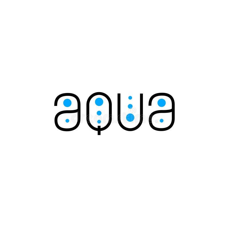 Aqua flat logo. Spa, pool emblem. Thin linear letters and blue drop. royalty free illustration