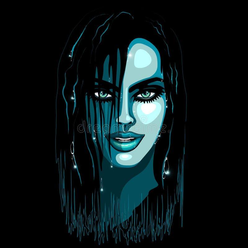 Download Aqua Girl Sensual Portrait stock vector. Illustration of drops - 64326683