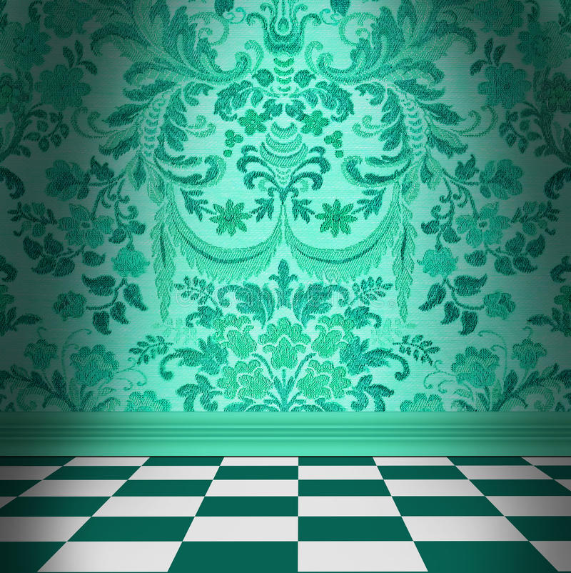 Aqua Green Damask Wallpaper With Black & White Checkerboard Tile royalty free illustration