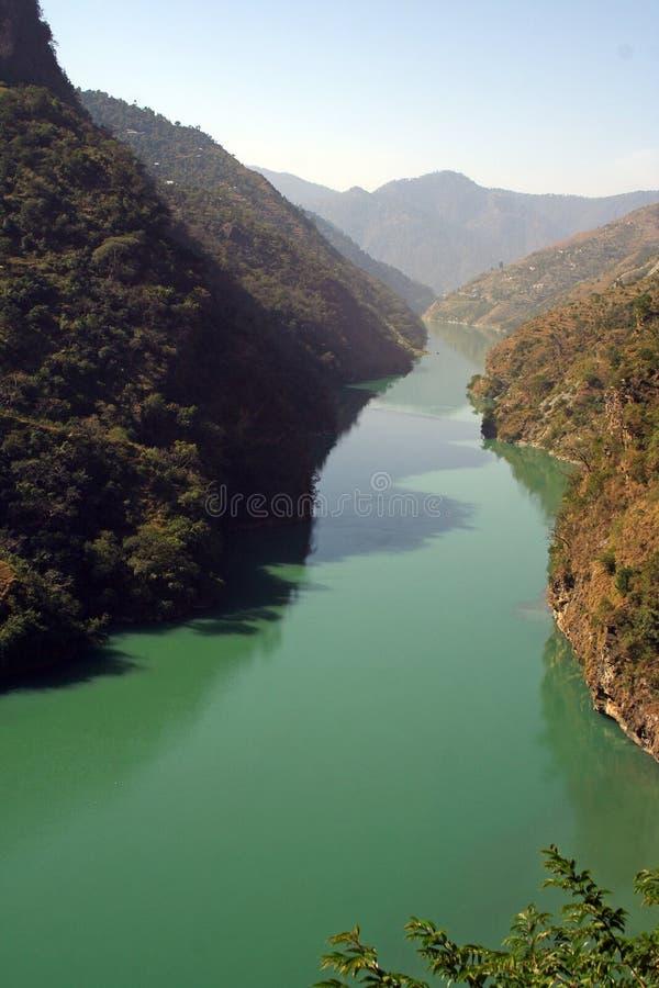 Aqua Green River Beas in HImalachal India fotografia stock libera da diritti