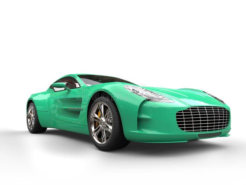 Aqua green sports car - beauty studio shot royalty free stock image