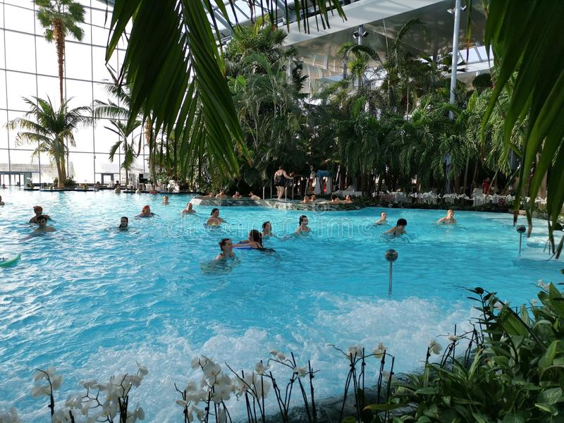 Aqua gym at Therme Bucharest royalty free stock image