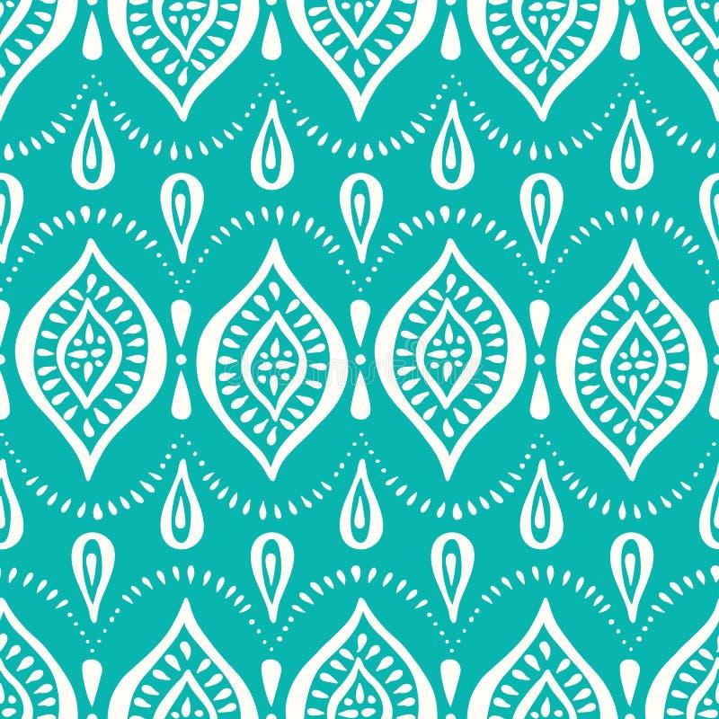 Aqua Handdrawn Lace Pattern med diamanter och prickar Sömlös bakgrund för klassisk elegant vektor stock illustrationer