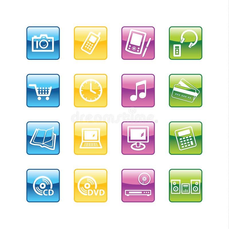 Aqua home electronics icons royalty free illustration