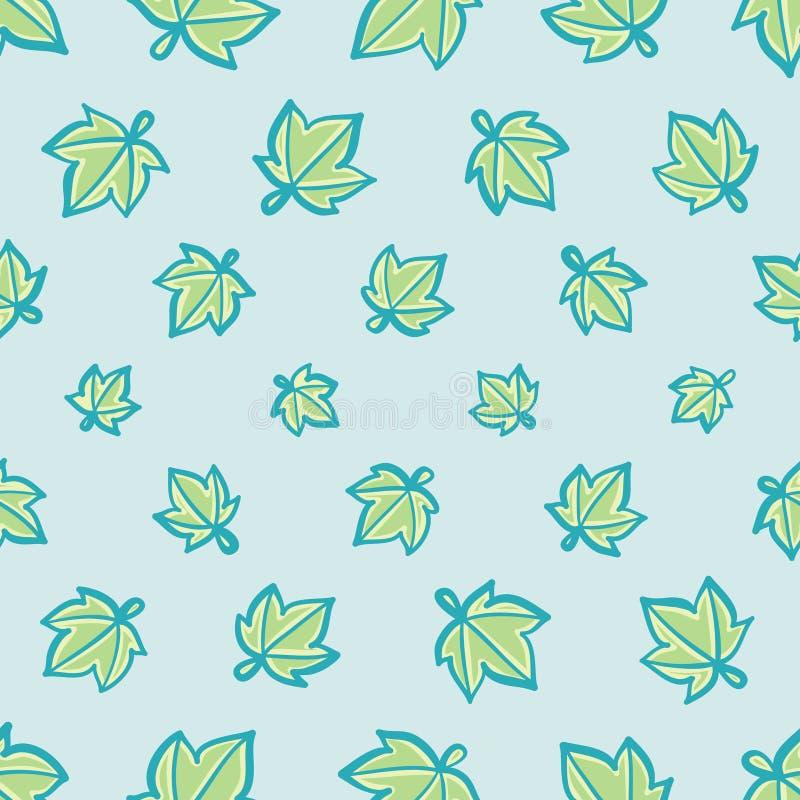Aqua i zieleń Gwiazdowego liścia Wektorowy Bezszwowy wzór royalty ilustracja