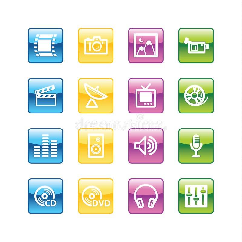 aqua ikony medialnych ilustracja wektor