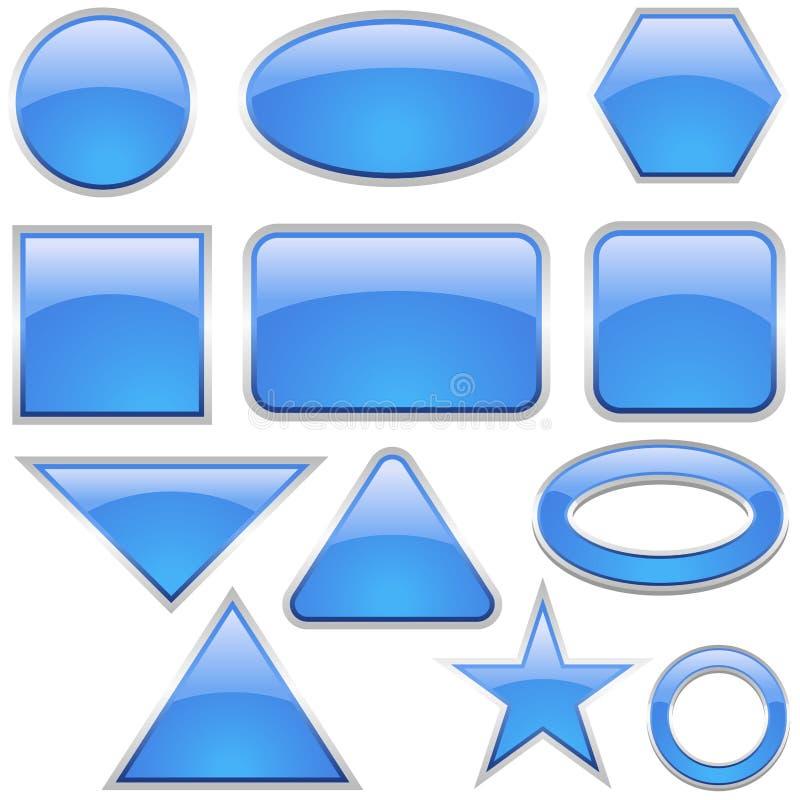 aqua ikony szklany zestaw royalty ilustracja