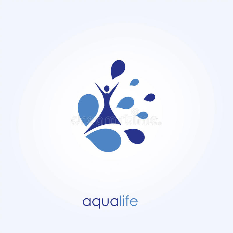 Aqua Life, Water Logo, Healthy Lifestyle. Vector Illustration stock images