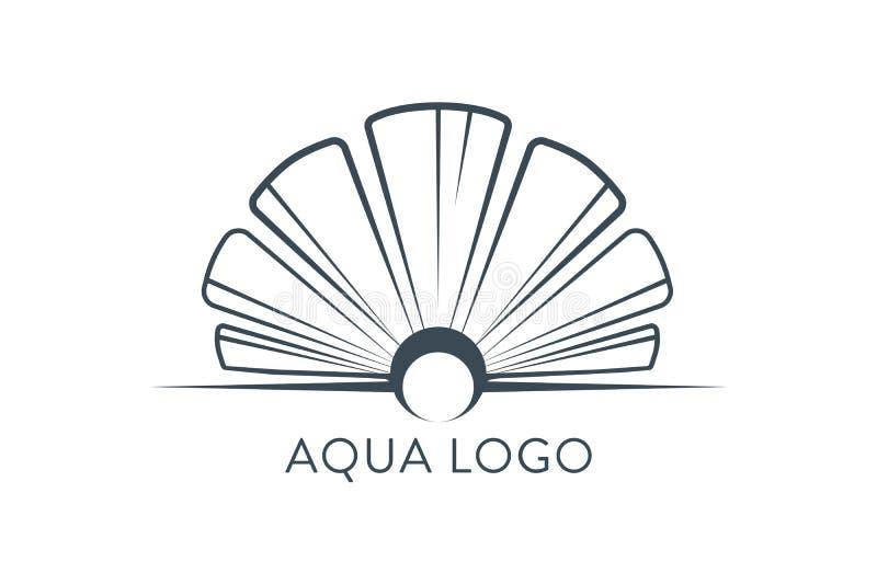 Aqua Logo Calibre abstrait de vecteur de conception de Shell Logo Concept de luxe de Logotype de mode de bijoux de restaurant de  illustration stock