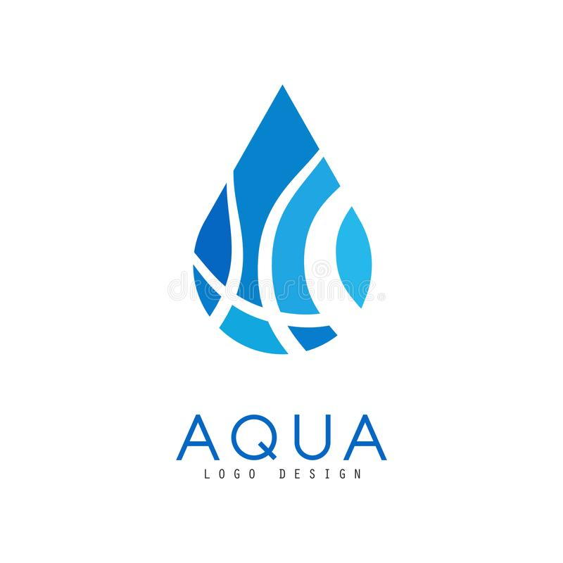 Aqua logo design, corporate identity template with blue water drop, ecology element for poster, banner, card vector illustration