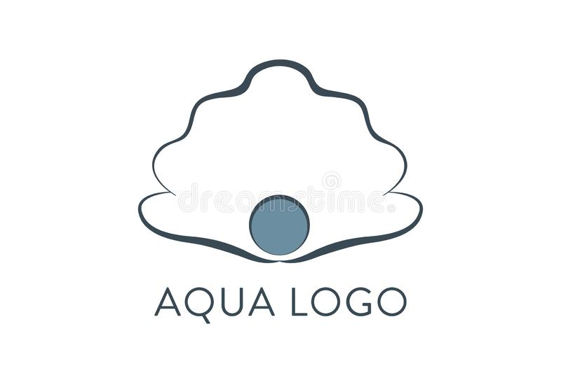 Aqua logo. Shell Logo abstract design vector template. Travel Seafood restaurant Jewelry Luxury Fashion Logotype concept. Icon stock illustration