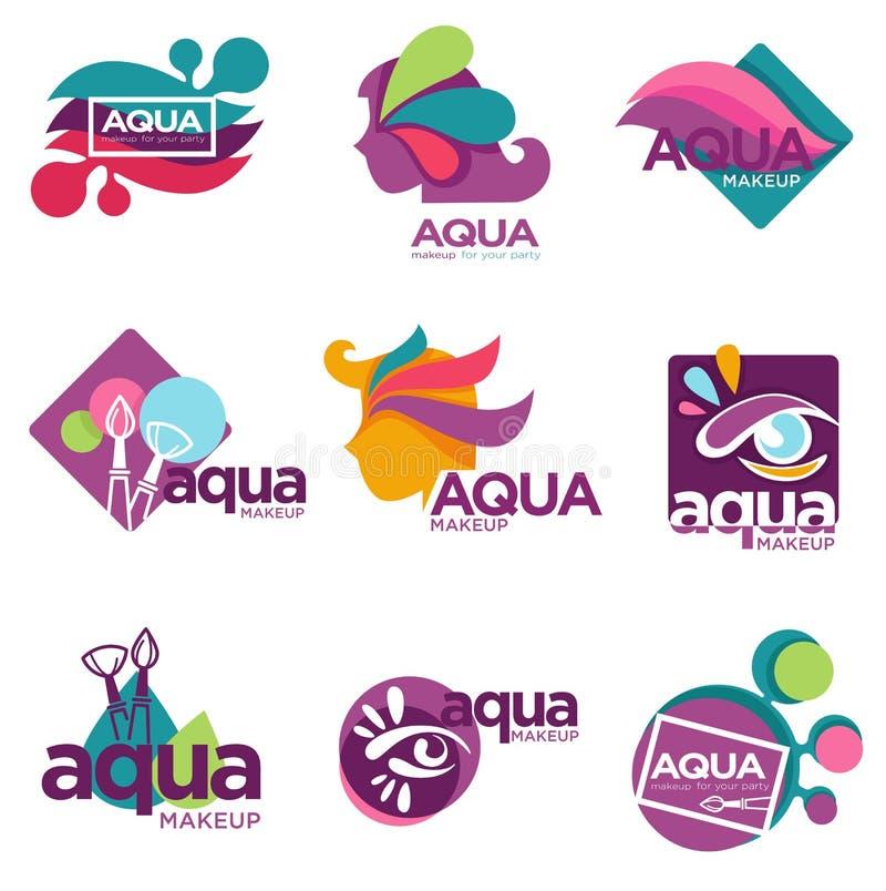 Aqua makeup cosmetics brand for women to use vector illustration