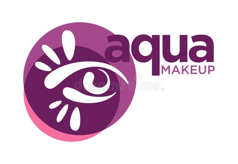 Aqua makeup logo with graphic eye in purple circle royalty free illustration