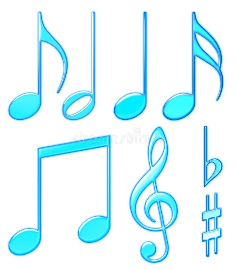 Aqua musical symbols stock illustration