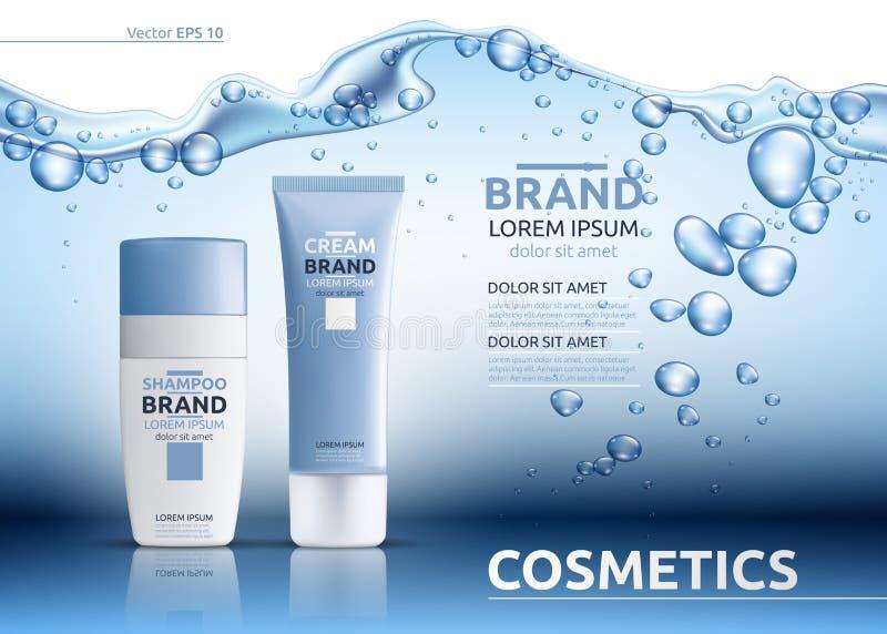 Aqua nawilżania reklam kosmetyczny szablon Nawadniać twarzowy lub ciało płukanka Mockup 3D Realistyczna ilustracja Iskrzaste wodn royalty ilustracja
