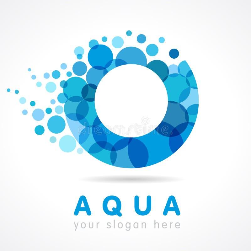Aqua O coloured logo vector illustration