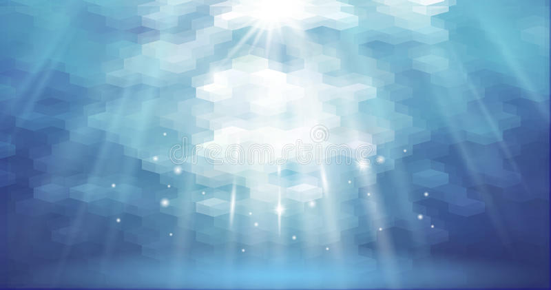 Aqua onderwater abstracte veelhoekige vectorillustratie die als achtergrond promotieaffiche op de markt brengen Lege oppervlakte  stock illustratie