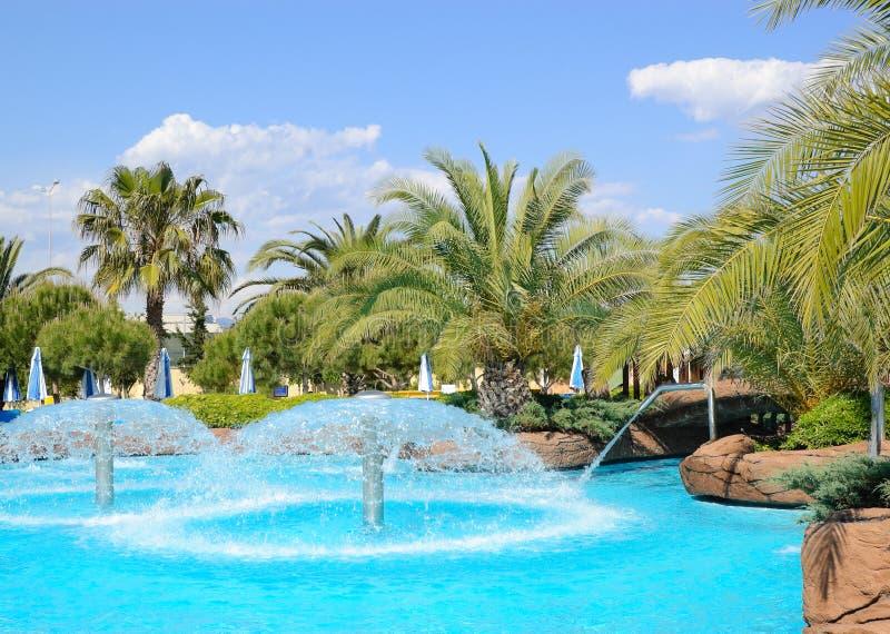 Aqua park's open air water facilities royalty free stock photo