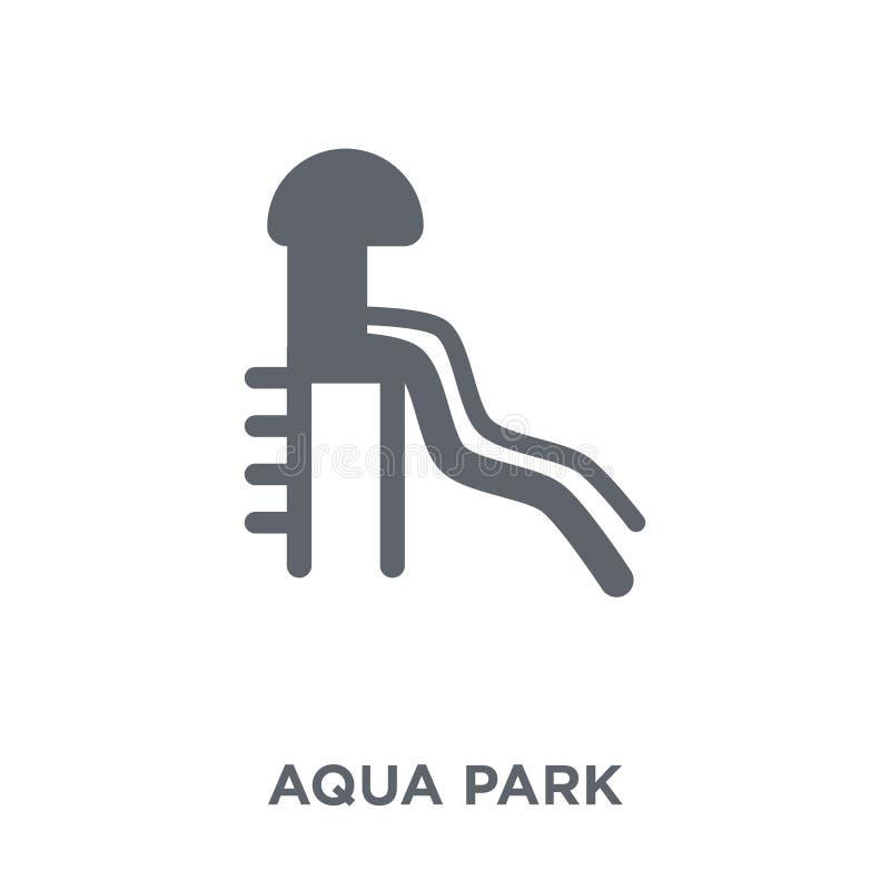 Aqua parkerar symbolen från sommarsamling stock illustrationer