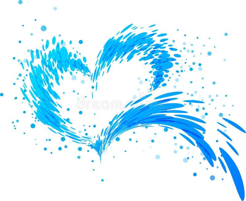 Aqua pluśnięcia serce royalty ilustracja