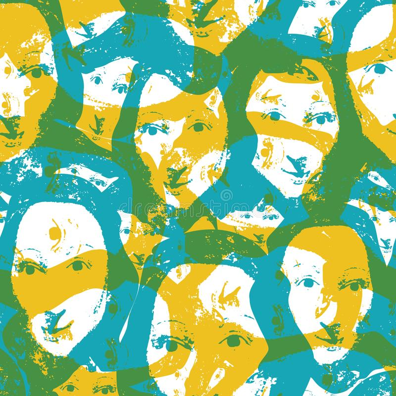 Aqua and saffron color screenprint style abstract design with women faces. Seamless vector pattern on white background. Great for fashion, wellbeing spa vector illustration
