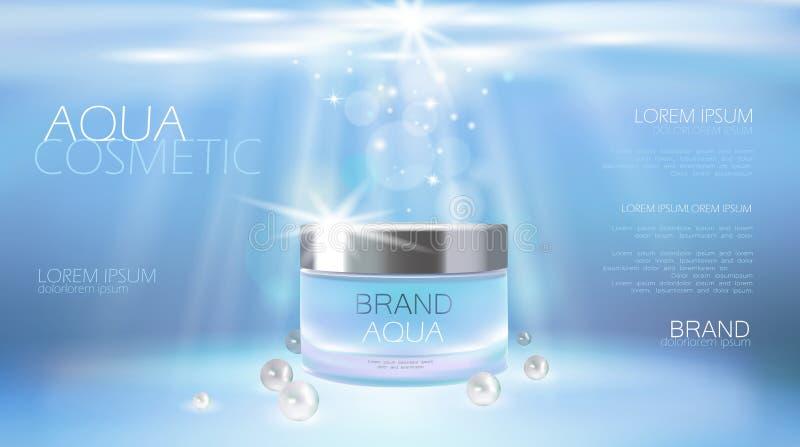 Aqua skóry opieki creme kosmetyczna reklama promuje plakatowego szablon Podwodne głębokiego morza światła słonecznego promienia b royalty ilustracja