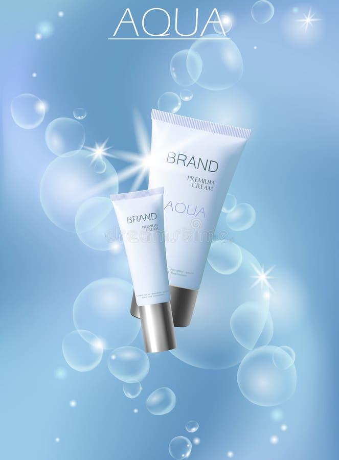 Aqua skóry opieki creme kosmetyczna reklama promuje plakatowego szablon Podwodne głębokiego morza światła słonecznego promienia b ilustracji