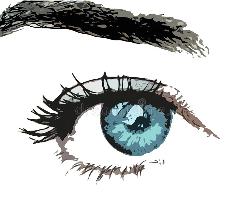 Aqua Stare. A photo illustration of a blue green eye and eyebrow. Isolated, impressionistic stock illustration