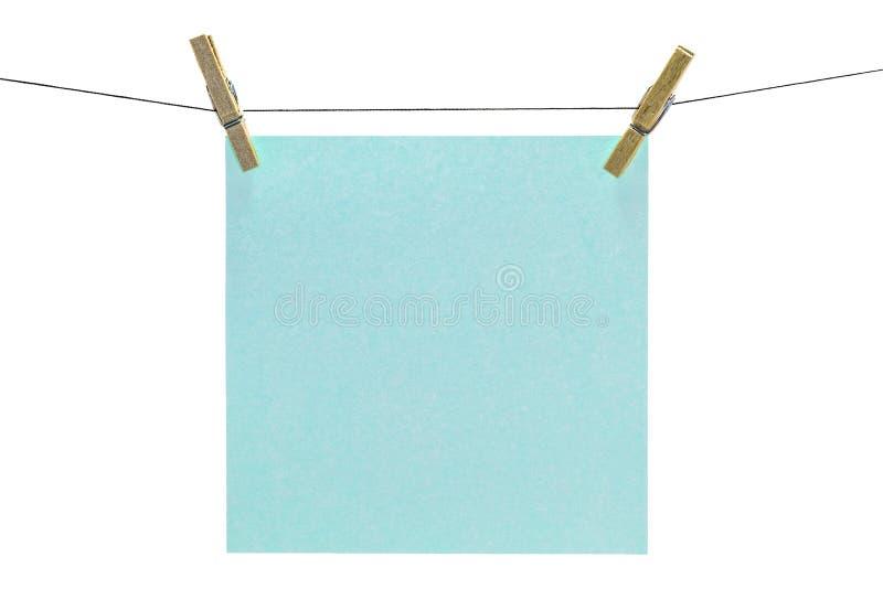 Aqua sticky note isolated stock image