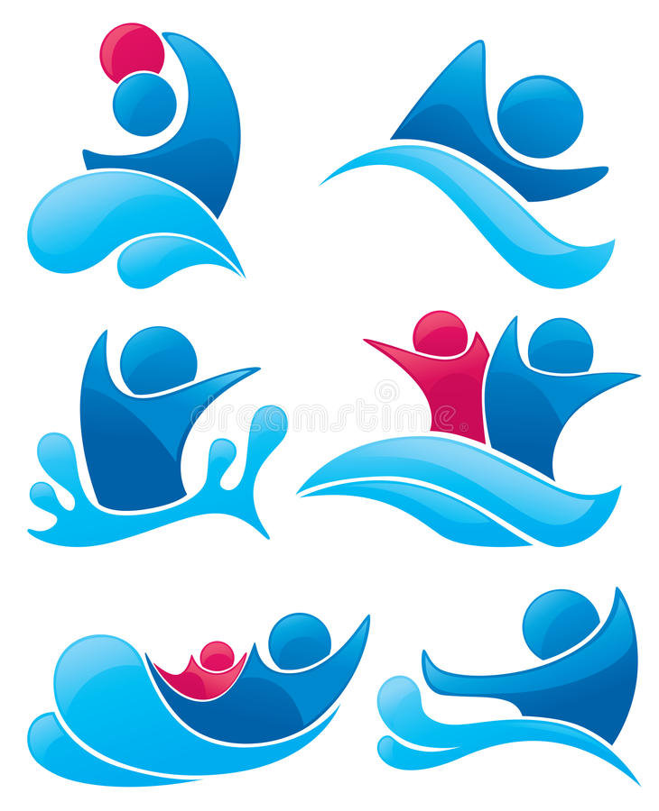 aqua symbole parkowi pływaccy ilustracji