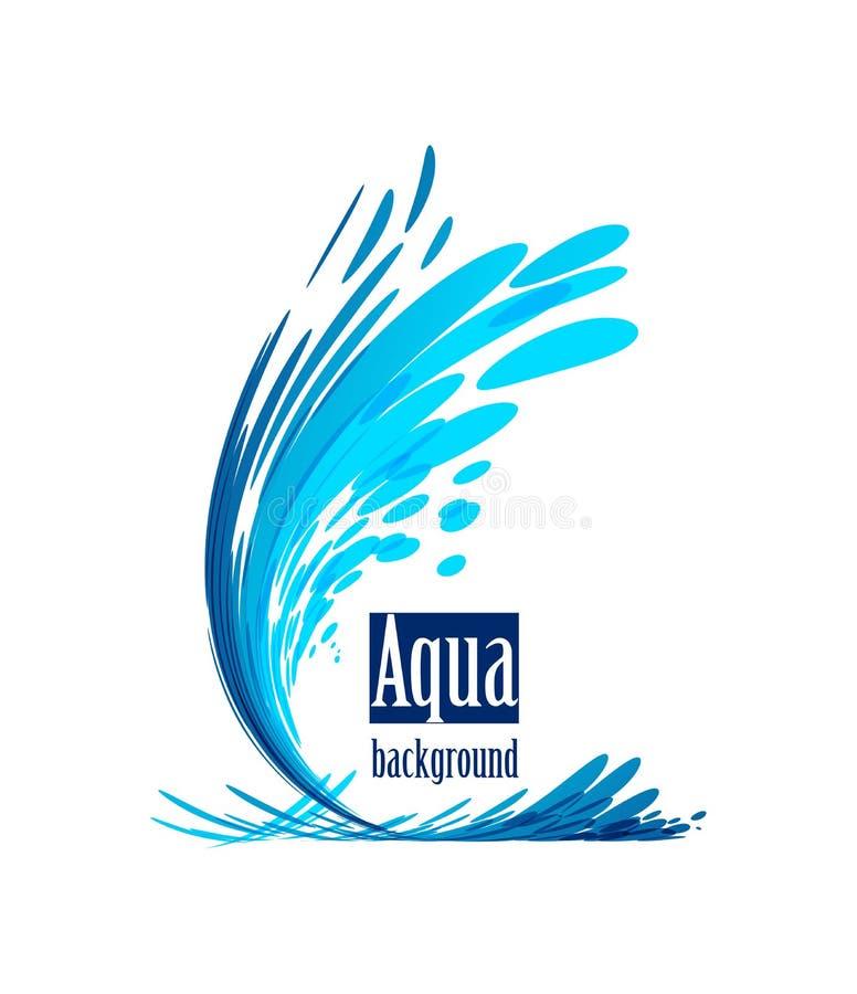 Aqua tło, pluśnięcie woda na bielu royalty ilustracja