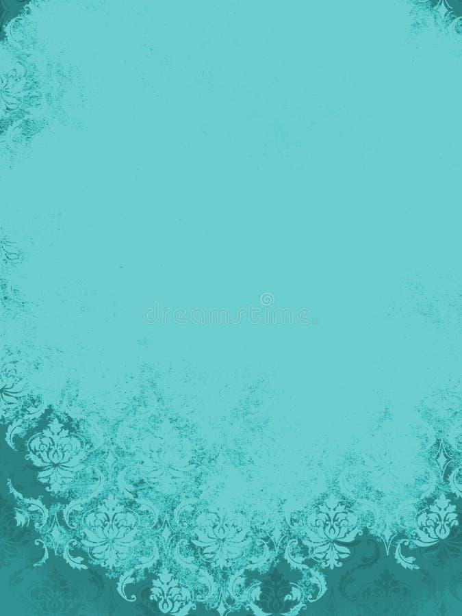 Aqua Teal Blue Vintage Damask-Hintergrund stockbild