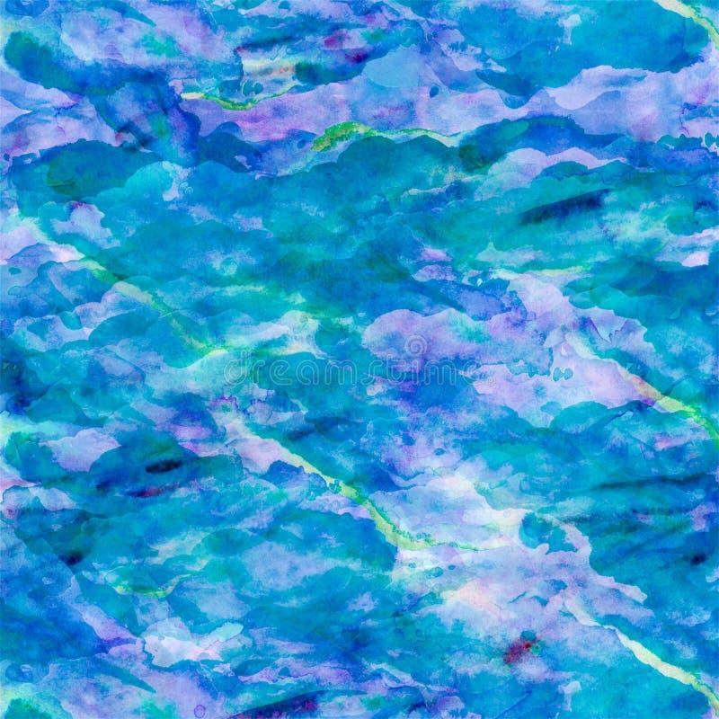 Aqua Teal Turquoise Watercolor Paper Background bleue illustration de vecteur