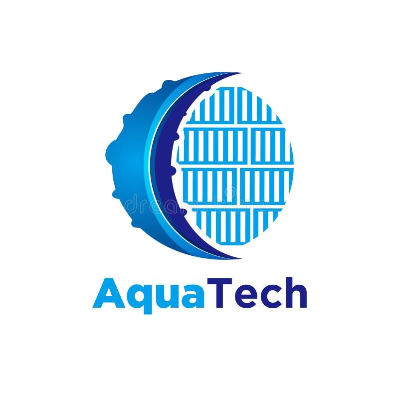 Aqua tech, polvo logo Ideias Design do logotipo Inspiron Ilustração de vetor de modelo Isolado Em Fundo Branco ilustração do vetor