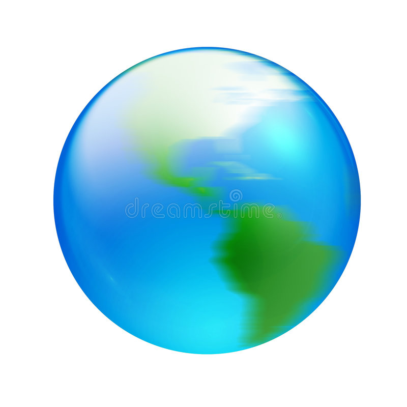 Aqua turning world. Blue and green turning world in aqua style vector illustration