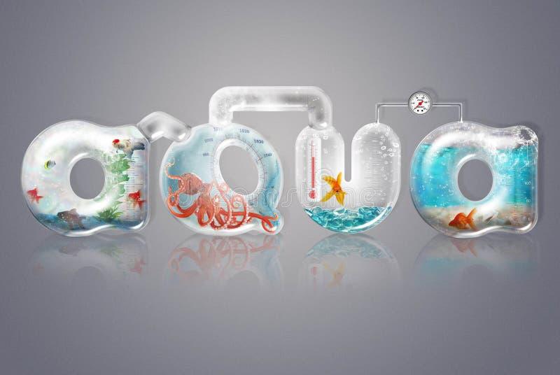 Aqua- und Glasbuchstaben stockfotografie