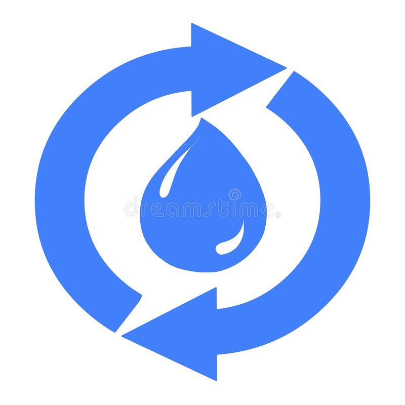 Aqua water drop droplet recycling arrows. A blue water droplet surrounded by circular arrows royalty free illustration